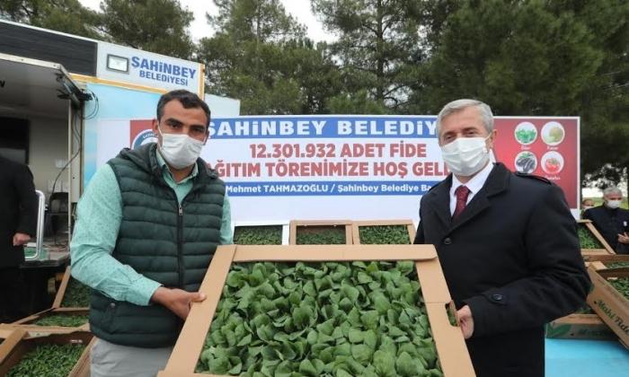 Şahinbey Belediyesi'nden Çiftçilere 12.301.932 fide
